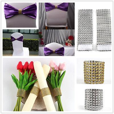 100×Diamond Mesh Wrap Napkin Ring Serviette Holder Chair Band Wedding Decor   (Napkin Wraps)