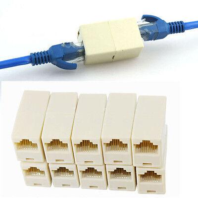 10PCS! Ethernet Network Cable RJ45 Splitter Plug Adapter Connector JKP