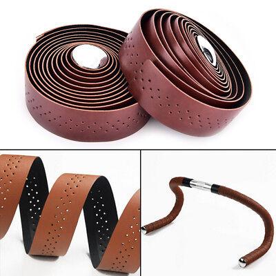 2pcs Cycling Road Bike Sports Handlebar Tape Faux Leather Wrap +2 Bar PlugPH