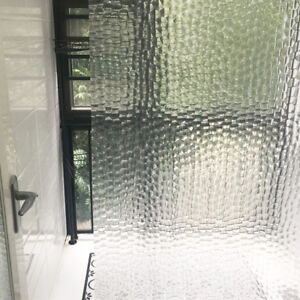3D Bath Shower Curtain Clear Cubes Water Transparent Plastic EVA Thicker 180200