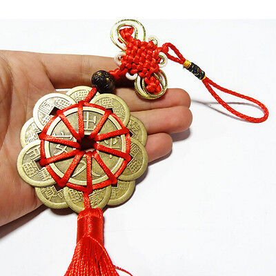 Feng Shui Mystic Knot 10 Chinese MEcky Coins Cures Home Career Health Wealth ʃʃ