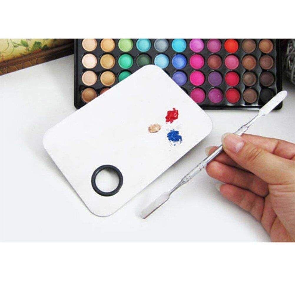 Acrylic Cosmetic Nail Art Makeup Polish Mixing Palette Stainless Steel Spatula Health & Beauty