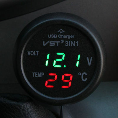 12V USB Charger Car Cigarette Lighter Socket Power Digital Voltmeter Thermometer