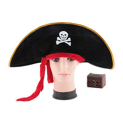Pirate Captain Hat Skull Crossbone Cap Costume Fancy Dress Party Halloween Gut