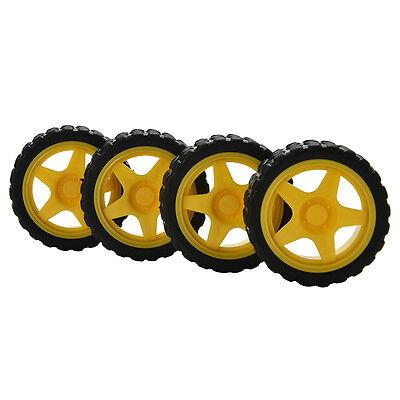 4pcs Small  Car Model Robot Plastic Tire Wheel 65x26mm For Arduinogu