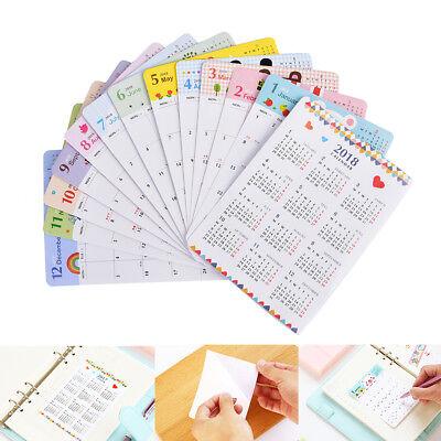 13sheetset 2018 Calendar Sticker Notebook Monthly Category Sticker Planner New.