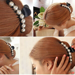 Women Lady Girl Pearl Crystal Hair Clip Clamp Claw Haedpiece Hair Accessory GV