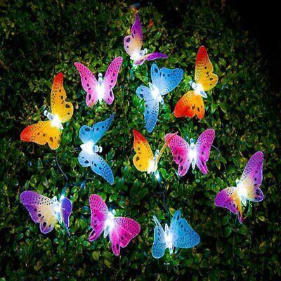 LEDMOMO Guirnalda de luces LED solar multicolor con forma de mariposa,