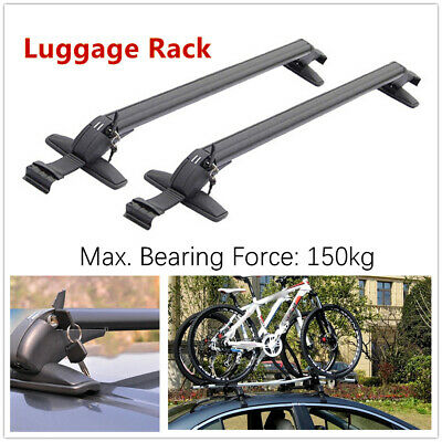 2*Car SUV Roof Rail Luggage Racks Baggage Carrier Cross w/Anti-theft Lock Curved