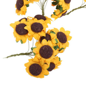100pcs Artificial Paper Sunflower Embellishments Wedding Bouquet Decor Craft DIY
