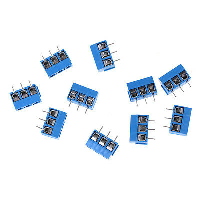 10pcs Kf301-3p Pitch 5.0mm Straight Pin Pcb 3pin Screw Terminals Block Connec P1