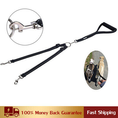 Strong-duty Nylon Reflective Double Dog Leash No Tangle with Soft Handle (Lead Nylon Reflective Leash)