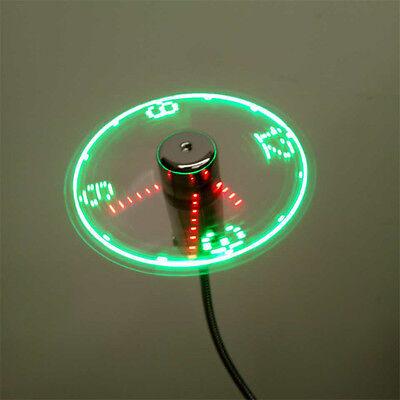 USB Mini Flexible Time LED Clock Fan with LED Light Gadgets Cool Fan Kn