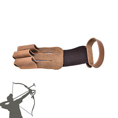 Archery finger protect glove 3 finger pull bow arrow leather shooting gloveHW