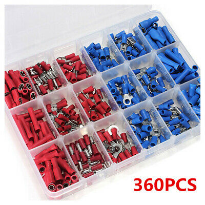 360 PCE ASSORTED FULLY INSULATED ELECTRICAL MALE FEMALE CRIMP CONNECTOR WIRE KIT