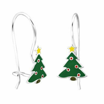 Sunnyshinee verde Pendientes creativos de /árbol de Navidad con gancho para las orejas