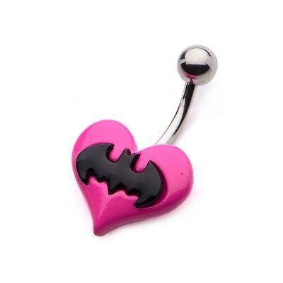 Batman Shield Pink Heart Navel Barbell Stainless Steel Body Jewelry Licensed (Heart Navel Shield)