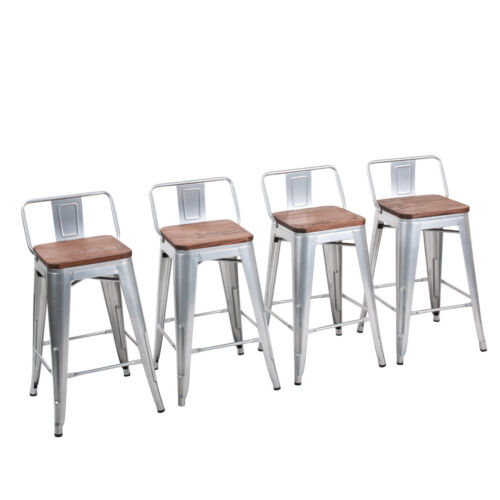 """4× Steel 24"""" Bar Stool Counter Chair Barstool Seat Low Back"""