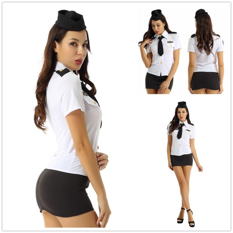 Women Police Officer Policewoman Uniform Cosplay Costume Mini Bodycon Skirt Suit