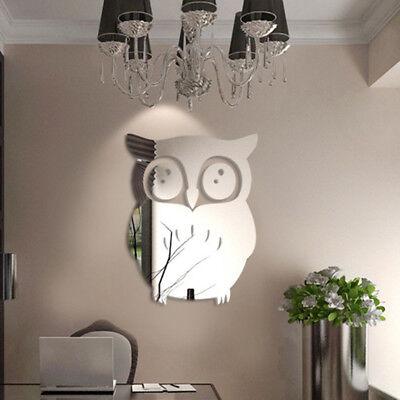 3d owl art mirror decal vinyl mural wall stickers home decor removable diy*_CYN