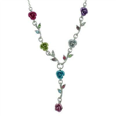 Rose Flower Made With Swarovski Crystal Floral Bridal Multi Color Necklace NEW