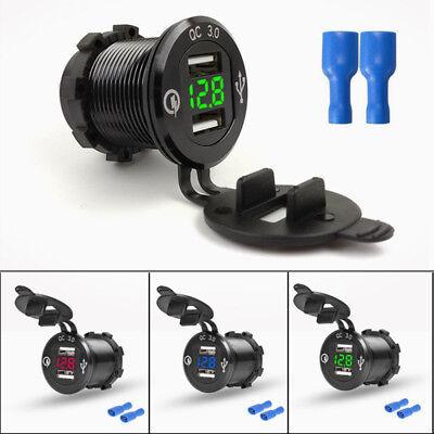 12V~24V Motorrad Dual-USB LED Auto / KFZ Ladegerät Steckdose Voltmeter mit Kabel