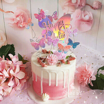Biling Colorful Laser Butterfly Happy Birthday Cake Topper for Dessert Gifts (Happy Birthday Butterfly)
