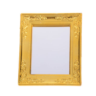 1:12 Dollhouse Golden Miniature Square Framed Mirror Dollhouse Accessory Toy//