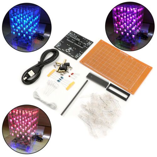 4X4X4 colorful LED Light Cube Kit 3D LED DIY Kit Electronic Suite for arduino HF