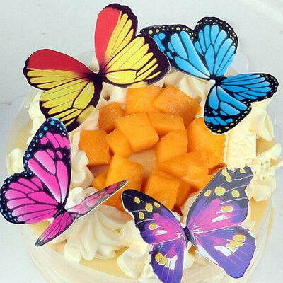 50pcs Butterflies Rainbow DIY Cupcake Fairy Cake Toppers Decor craft HGUK
