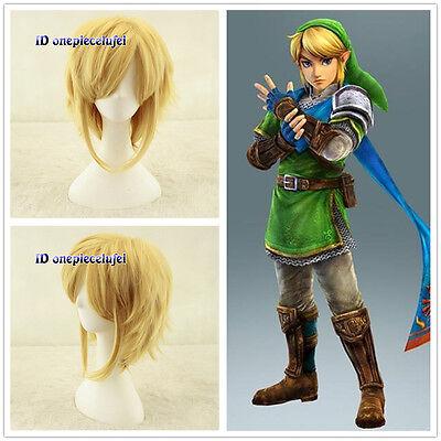 Link The Legend Of Zelda Link Short Blonde Anime cosplay Wig +free wig - Legend Of Zelda Link Wig