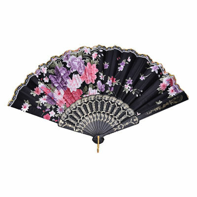 Hand Held Fans Bulk ( Wedding Party Lace Silk Folding Hand Held Flower Pattern FANS LOT OF 6*)