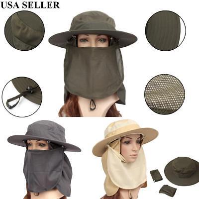 (Boonie Snap Hat Brim Ear Neck Cover Sun Flap Cap Visor Fishing Hiking Garden Men)