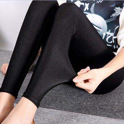 Womens High Waist Stretch Skinny Shiny Spandex Leggings Slim Fit Tight-Pants