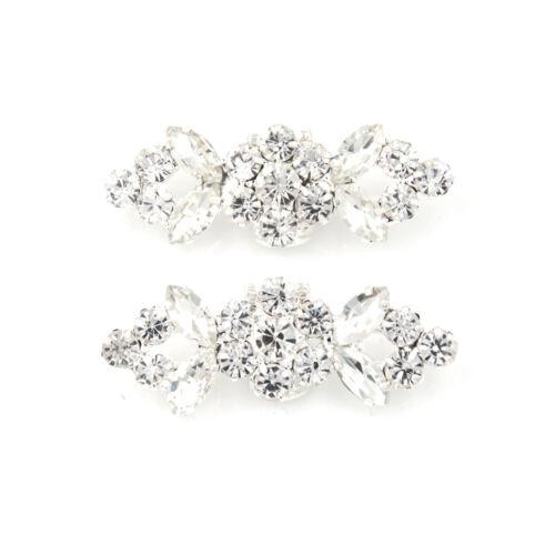 2x Flower Square Crystal Rhinestone Shoe Clips Buckle Wedding Bridal Party Decor