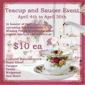 Bone China Teacup & Saucer Blow Out Sale Event! Brands Include Minton, Paragon, Royal Albert, Denby & Much More!