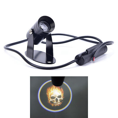 3D Universal Ghost Rider Flaming Skull Logo Motorcycle Projector LED Light PBZY