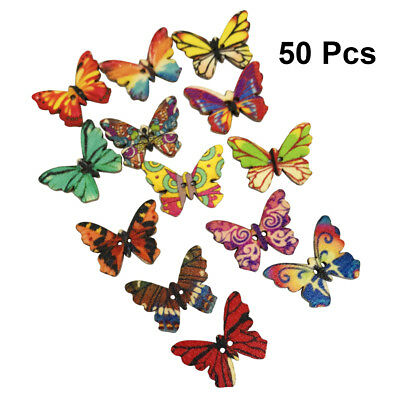 50pcs 2 Holes Mixed Butterfly Wooden Button Sewing Scrapbooking DIY Craft 25mm](Wooden Butterfly)