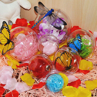 Ball Christmas Baubles Clear Fillable Xmas Tree Decoration Ornaments 4 Sizes - Clear Fillable Christmas Ornaments