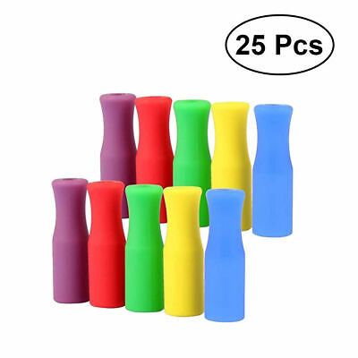 25 Set Multicolored Food Grade Silicone Tips Covers Metal Steel Straws