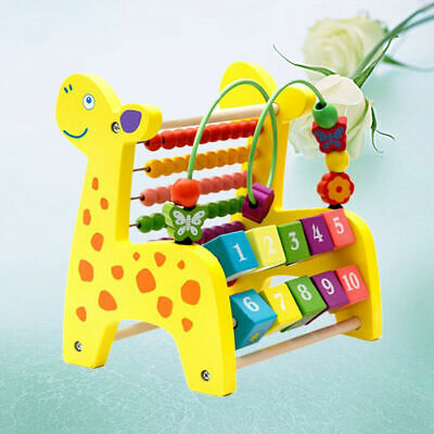 Computing Rack Wooden Multifunction Mathematics Toy Beads Frame for Children