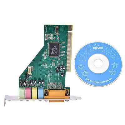 4 Channel 5.1 Surround 3D PCI Sound Audio Card MIDI for PC Windows XP/7/8/10 PR