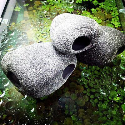 Hot Ceramic Rock Cave Ornament Stones For Fish Tank Filtration Aquarium P0CA