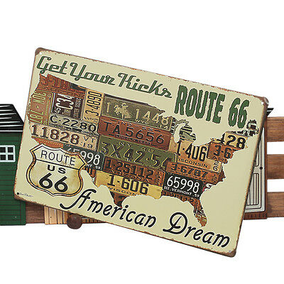 Route66 Car Plates Vintage MetalTin Sign Home Clubs Pub Bar Poster Wall DecorsGx