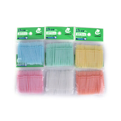 100x Plastic Dental Picks Oral Hygiene 2 Way Interdental Brush Tooth Pick Tsca