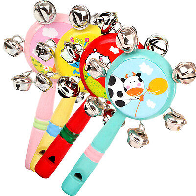 1X Whistle Hand Rattles Cartoon Animal Wooden Hand Bells Baby Kid Musical Toy YJ
