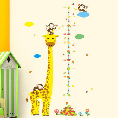 (giraffe kids height animal decal decor wall sticker chart measure growth SY)