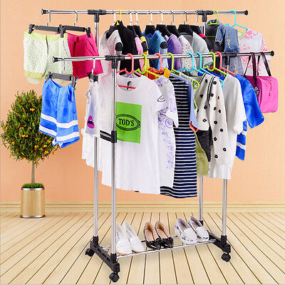 HEAVY DUTY double ADJUSTABLE PORTABLE CLOTHES HANGER ROLLING GARMENT RACK RAIL