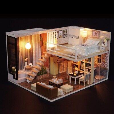 Dollhouse Miniature DIY House Kit Handmade Creative Room W/ Furniture LED Light