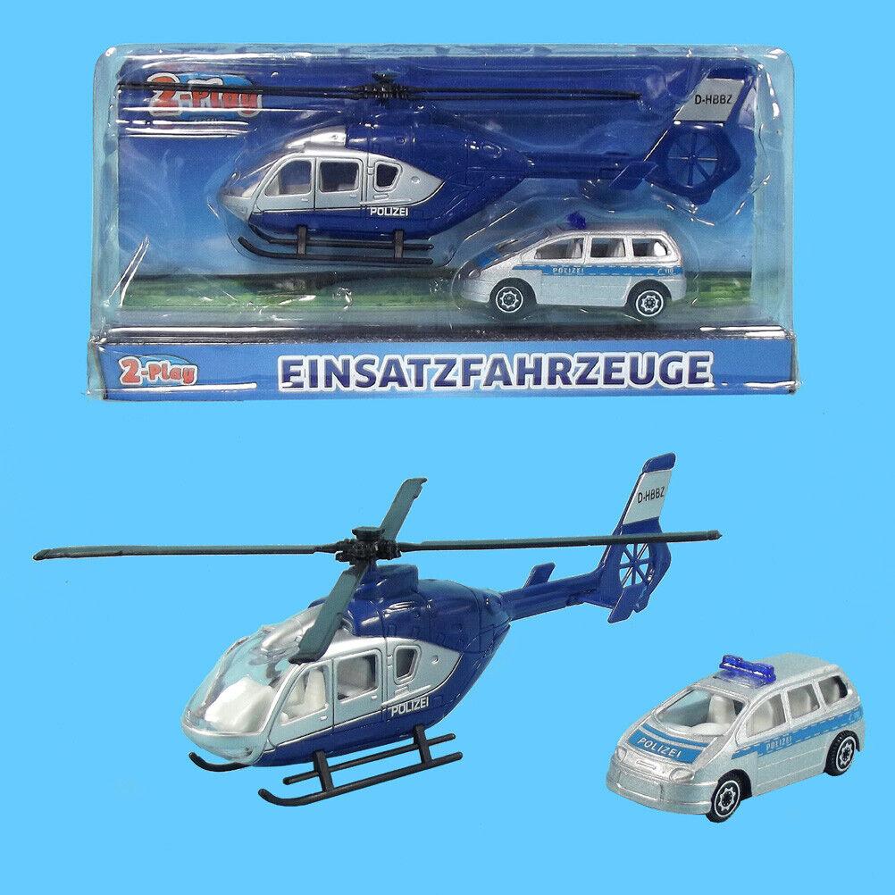 Polizei Hubschrauber mit Polizei Fahrzeug DIE CAST